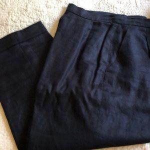 Ralph Lauren Navy linen cropped pants
